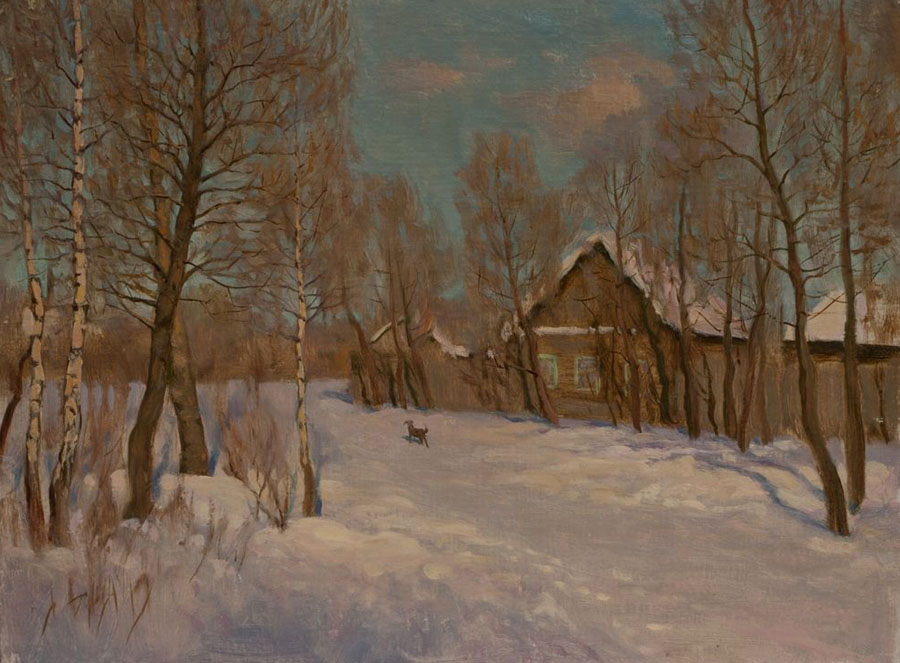 Outskirts, Rem Saifulmulukov- painting, landscape, winter, village, birch trees, house