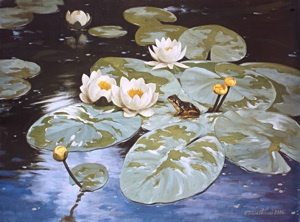 Lilies and frog