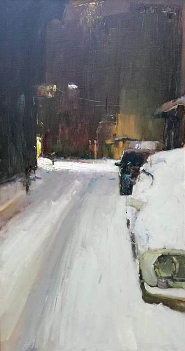 Night. Snow. Darsan, Peter Bezrukov- French cityscape, painting of impressionism, France