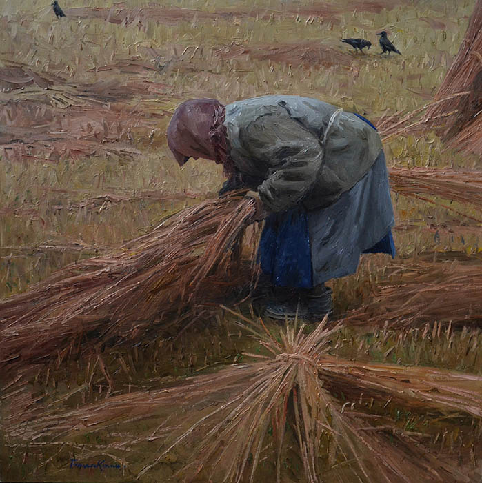 It will be fast the Protection, Evgeny Balakshin- painting, autumn, village, field, haystack, field work