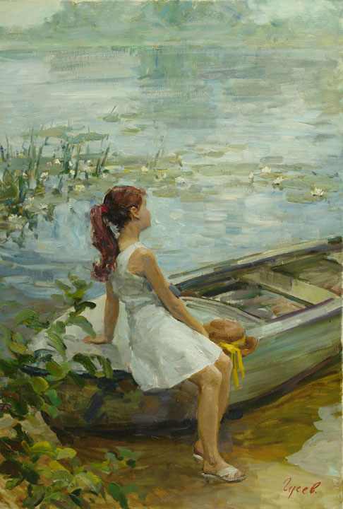 Fog, Vladimir Gusev- boat, shore, girl, painting, pond with water lilies
