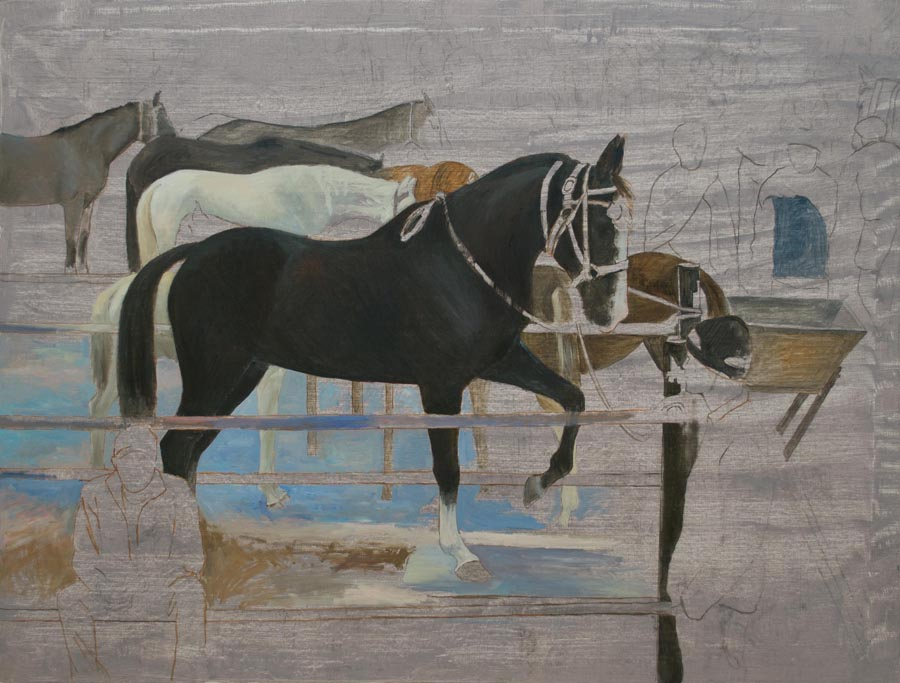Horse Fair, Sergey Postnikov- painting with horses, people, animals