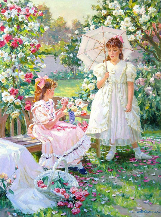 Among flowers, Alexandr Averin- Impressionism painting, flower-filled garden, the two girls,