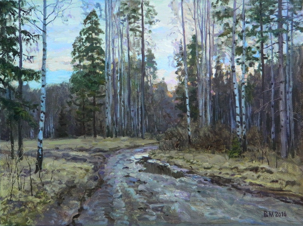 Road to Michal, Rem Saifulmulukov- painting, spring, road in the forest, realism, landscape