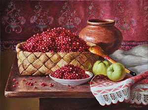Still life with red whortleberry