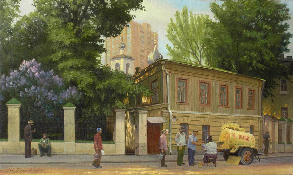 For beer (for order), Philipp Kubarev- genre painting, realism, old Moscow, beer lovers