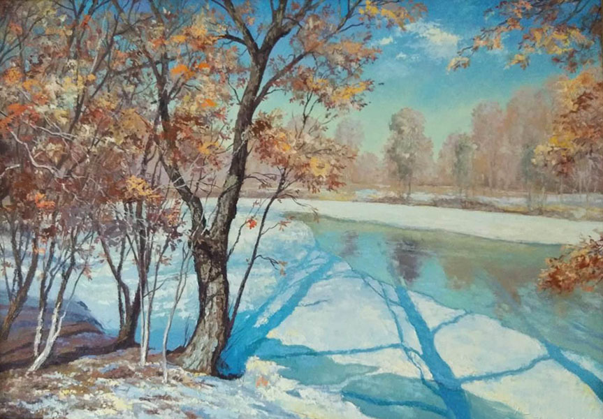 Spring # 1, Mikhail Brovkin- painting, spring, the river in the forest, sunny day