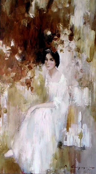 At daybreak, Vitold Smukrovich- painting, girl in white dress in the garden, impressionism
