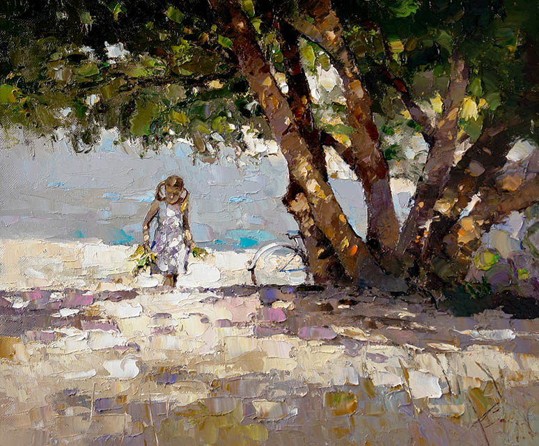 Sycamore near sea, Alexi Zaitsev- painting, Girl with bicycle, large tree, seashore