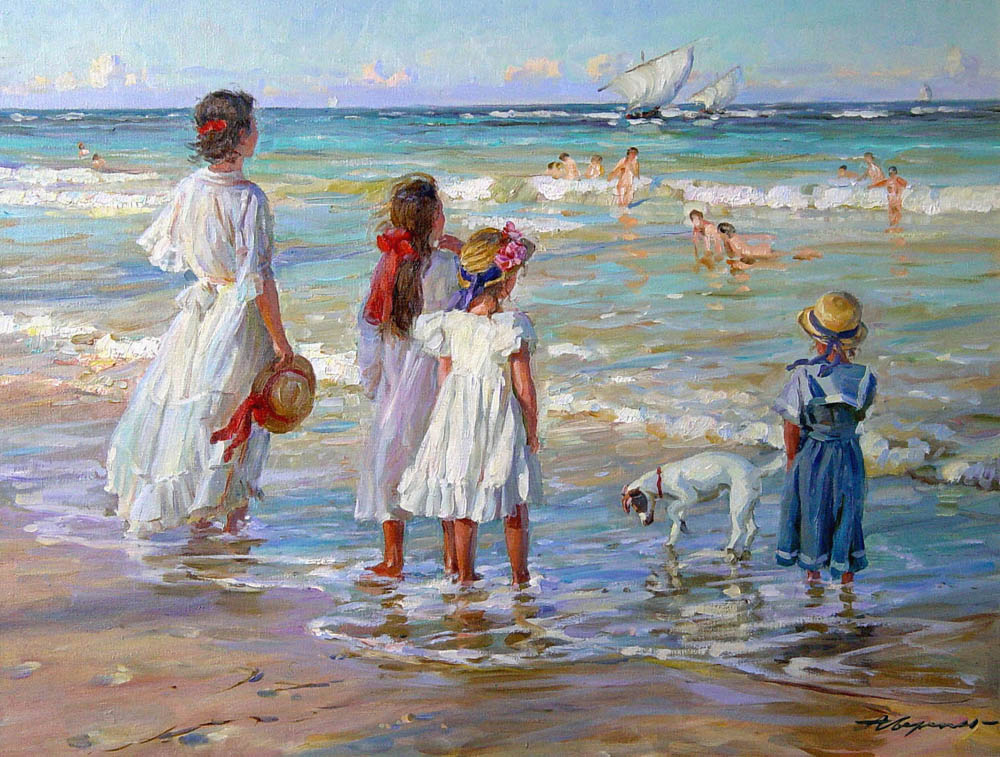 Sailers, Alexandr Averin- impressionism painting, mrskie waves, wind , people