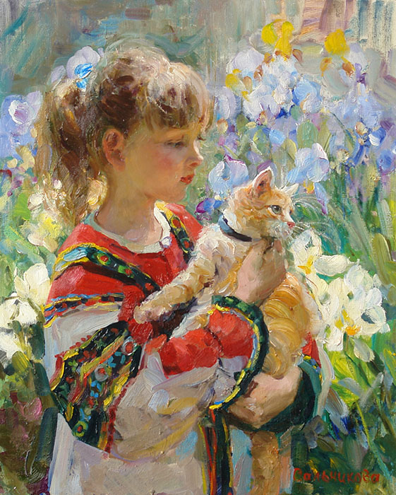 Ginger pussycat, Elena Salnikova- painting girl with a cat, impressionism, irises blooming