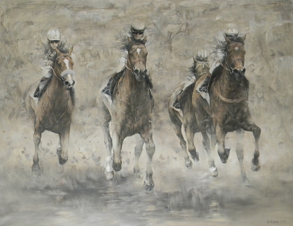 """2400 meters"", ""Scandinavian series"", Andrey Sitsko- painting racetrack, horse racing, competition,running, horse"