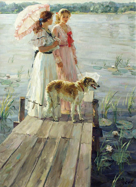 On the small bridge, Vladimir Gusev- painting, the girl for a walk, river, dog, impressionism