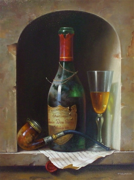 Still Life with a pipe and a bottle, Valery Silyanov- painting, bottle, glass of wine, smoking pipe