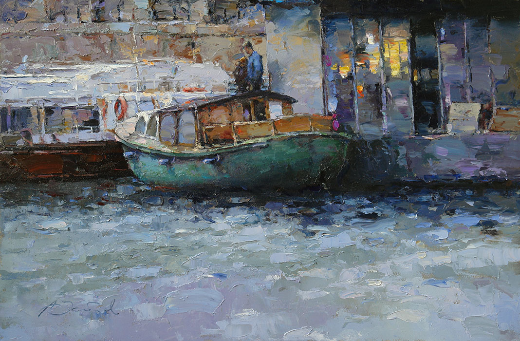 Evening. Pier, Alexi Zaitsev- Boat on the pier, painting, impressionism