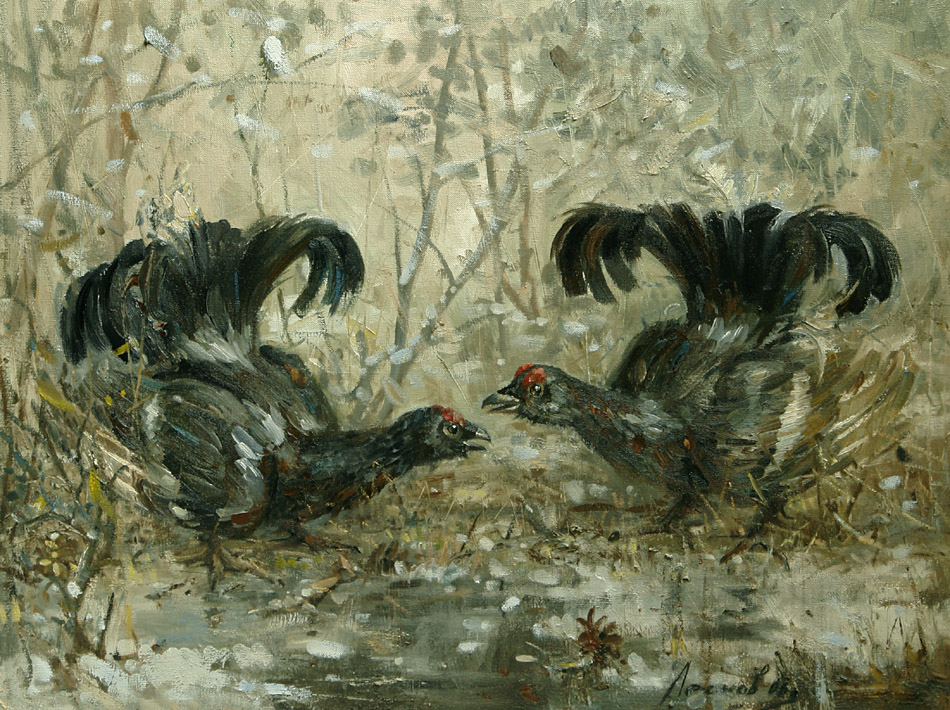 Rivals, Oleg Leonov- painting,pheasants in the forest, spring,story work, realism