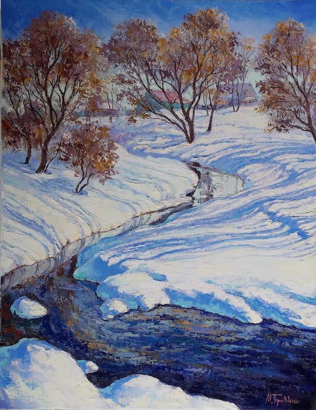 Spring # 2, Mikhail Brovkin- painting, spring day, the awakening of nature, snow
