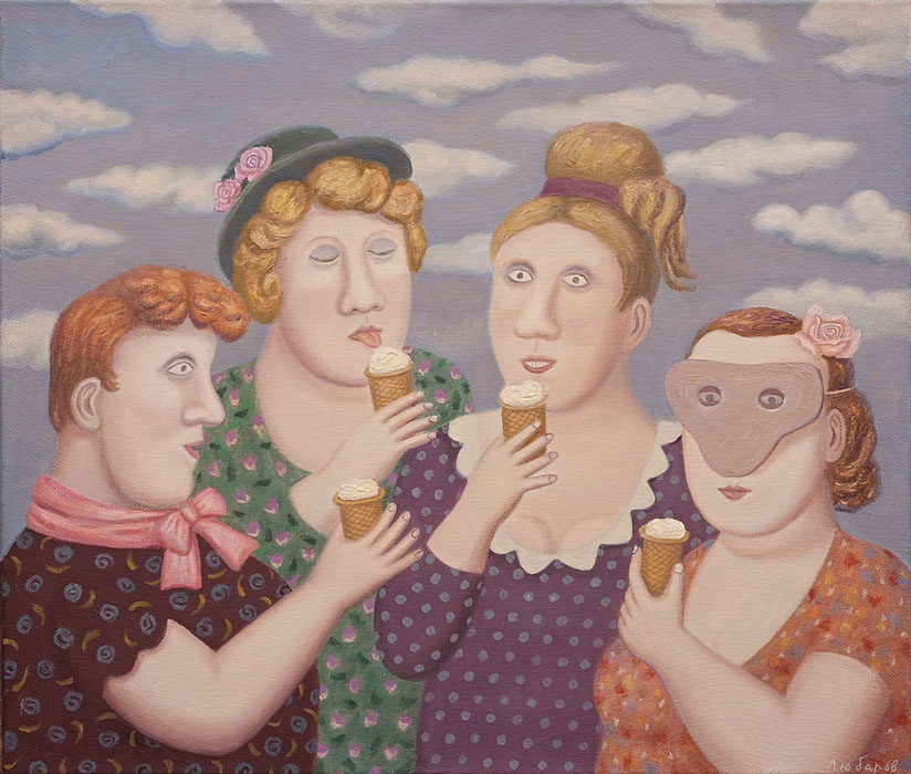 Ice cream in cups, Vladimir Lubarov- village ladies, ice cream, genre painting
