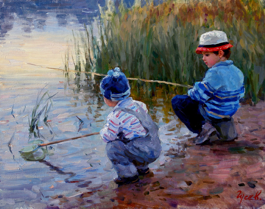 Fishermen, Vladimir Gusev- genre painting, autumn, river, boys, fishing