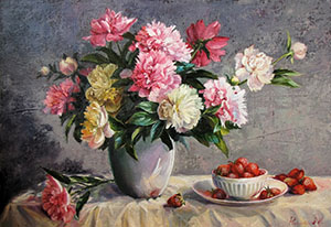Peonies and strawberry