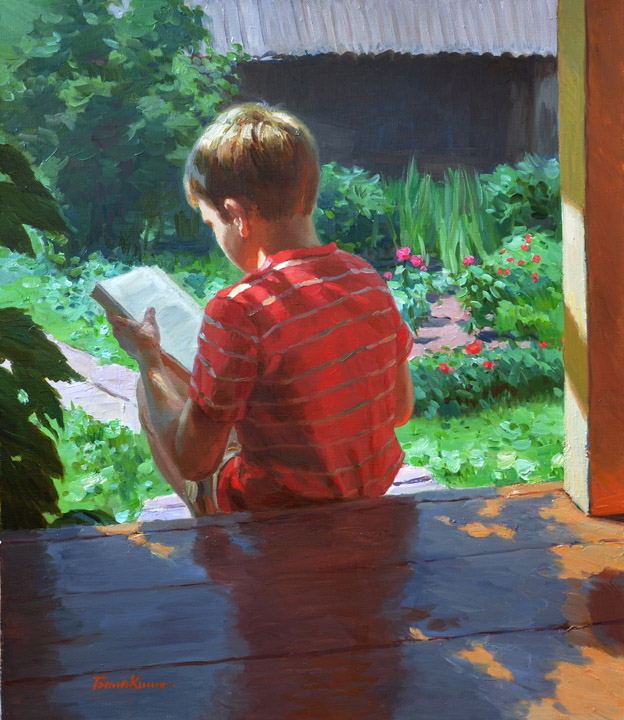 Sledging, Evgeny Balakshin- painting, summer vacation, village, boy, reading a book