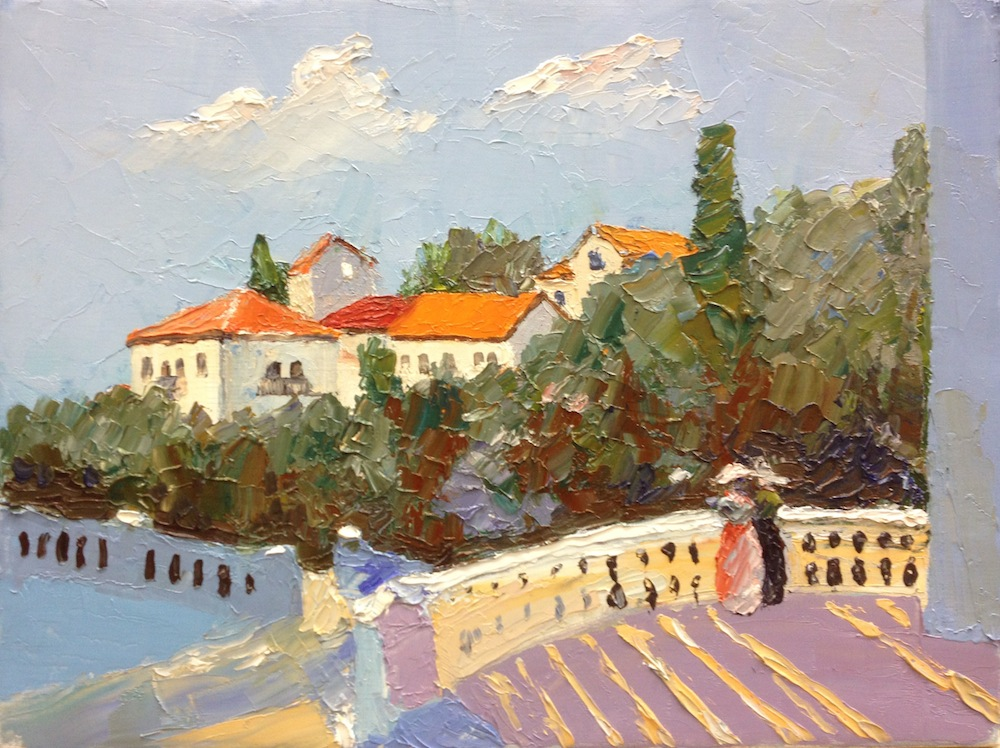 Montenegro, Sergey Postnikov- painting, rest on the beach, sunny day, blue sky