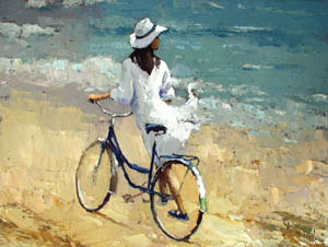 Girl with the bicycle