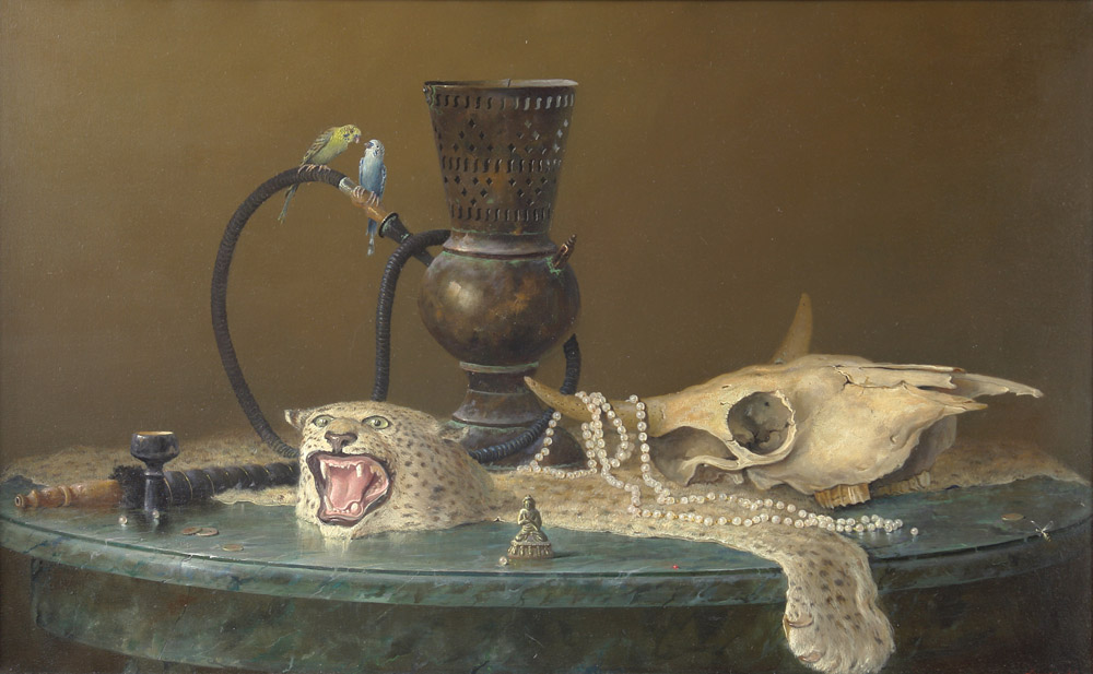 Still Life with Buddha, George Dmitriev- painting, hookah, parrots, figurine, leopard skin