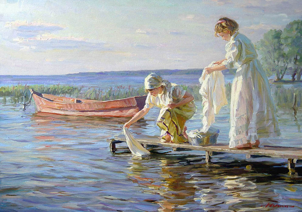 Laundresses, Alexandr Averin- two women rinse laundry in the river, painting impressionism