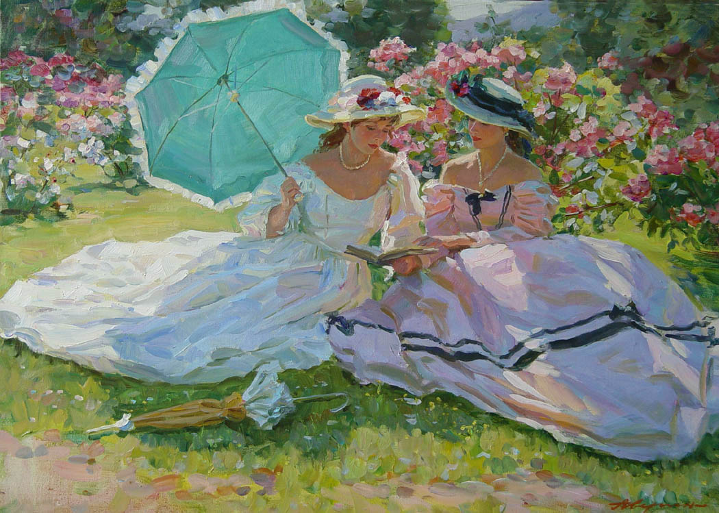 Rest on the grass. (Parc de Bagatelle), Alexandr Averin- impressionism painting, mrskie waves, wind, people