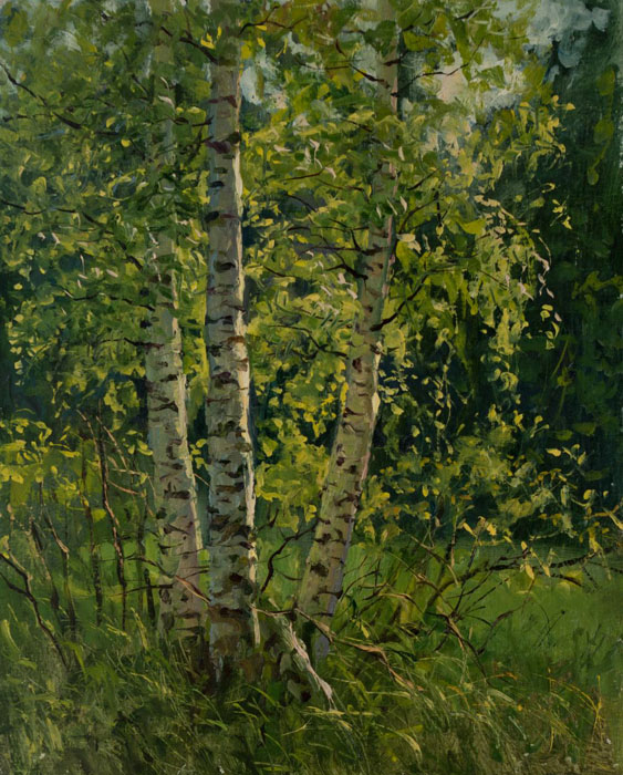 Green dress, Rem Saifulmulukov- painting, summer, Russian nature, birch, realism, landscape