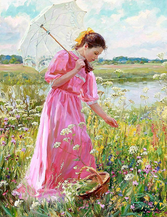 On the bank of Klyazma, Alexandr Averin- portrait of girl in nature, impressionism, blooming meadow