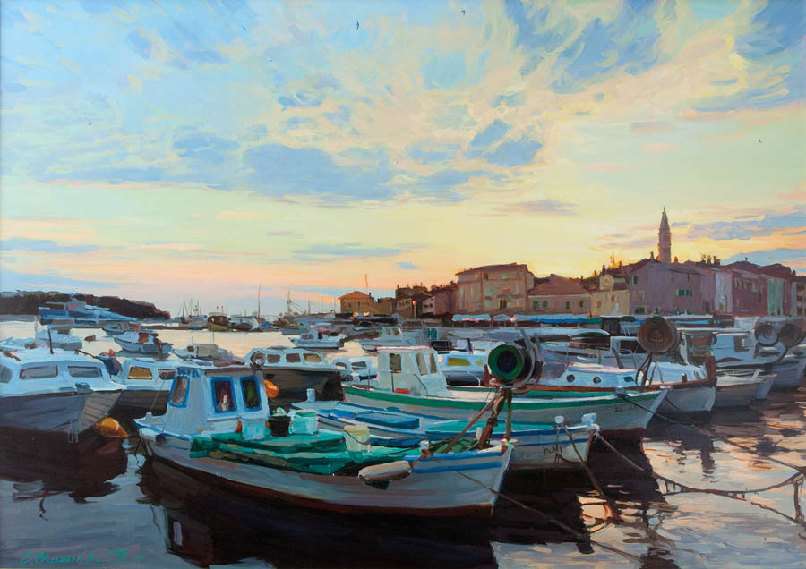 Evening Rovinj. Boats in the bay, Sergey Ulyanovsky