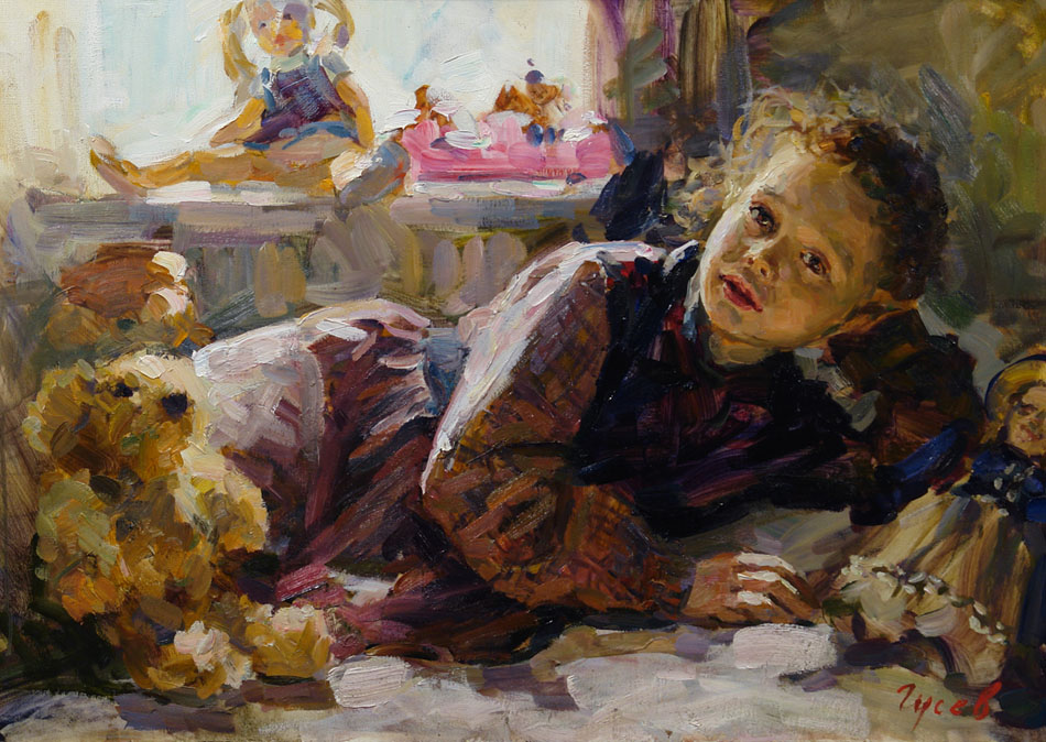 Rest, Vladimir Gusev- painting, girl, toys, children's room, impressionism