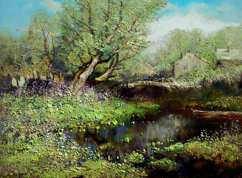 Country flavor, Konstantin Drugin- painting, rural landscape, hot summer, flowers, river