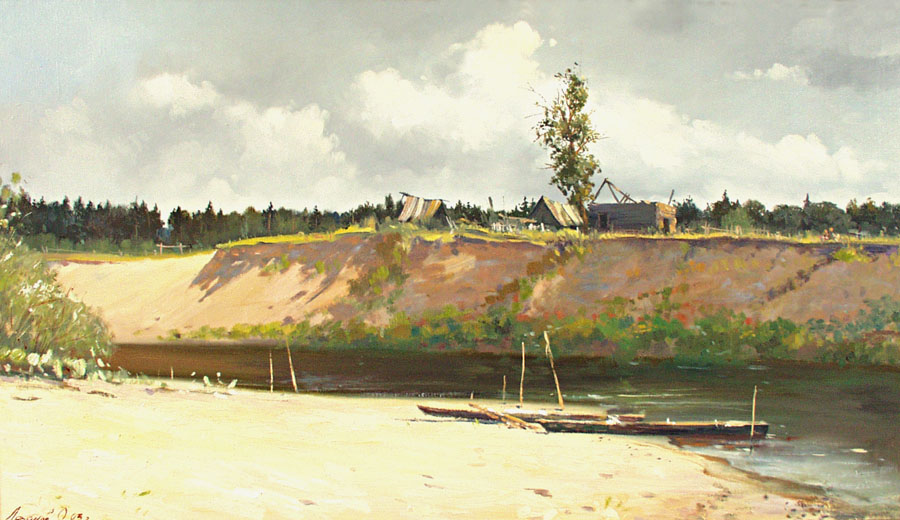 Markitan, Oleg Leonov- painting, hot summer day, river, rural landscape