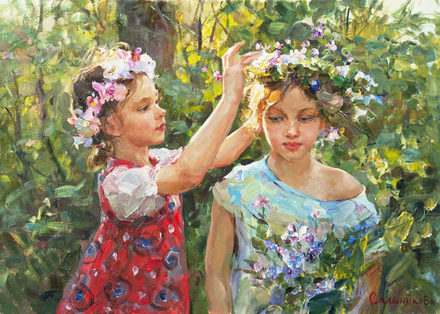 Garland, Elena Salnikova- painting, summer day, holiday, girls, wildflowers, beauty