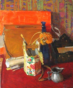 Still life on red tablecloth
