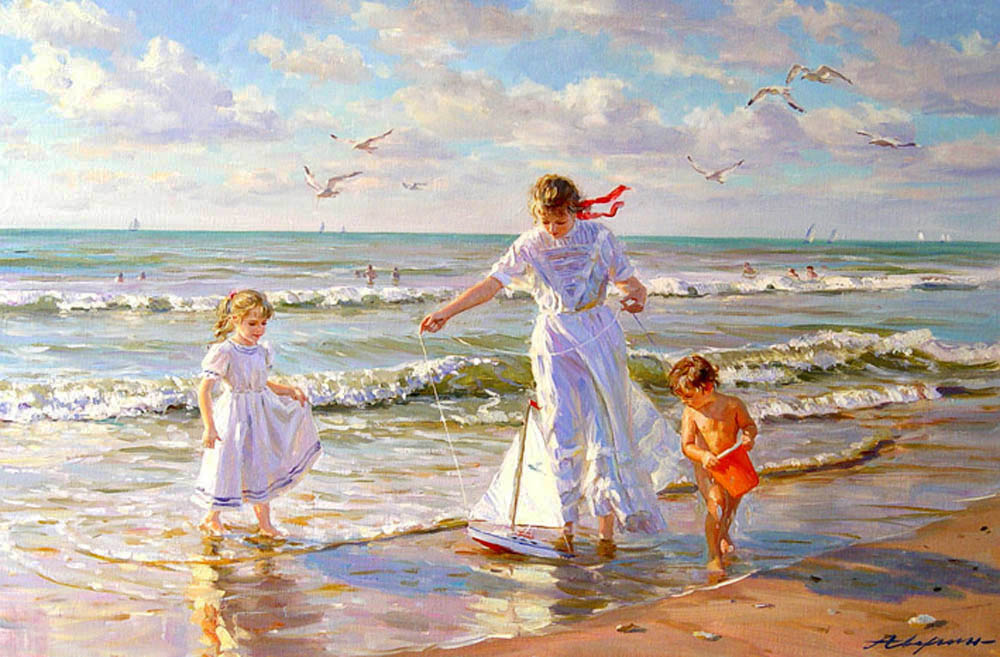 Children's amusement #2, Alexandr Averin- girl, sailing, game, beach, painting, impressionism