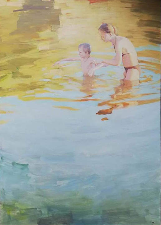 To the depth, Peter Bezrukov- bathing a child, swim for the first time, painting
