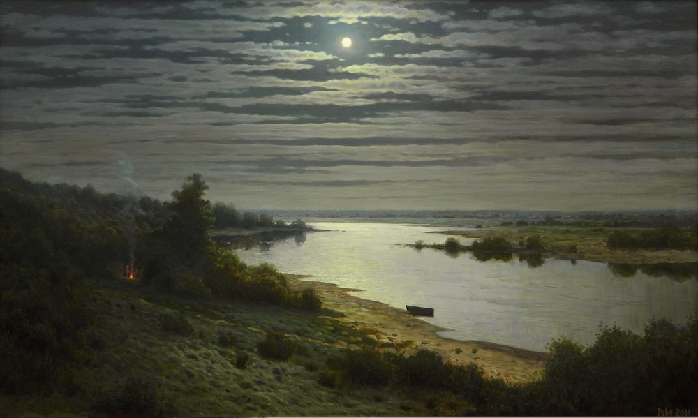 Full Moon, Rem Saifulmulukov- painting, summer, night, moon, river, landscape, realism