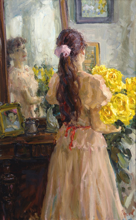At the mirror, Vladimir Gusev- painting, girl, mirror, holiday, flower bouquet