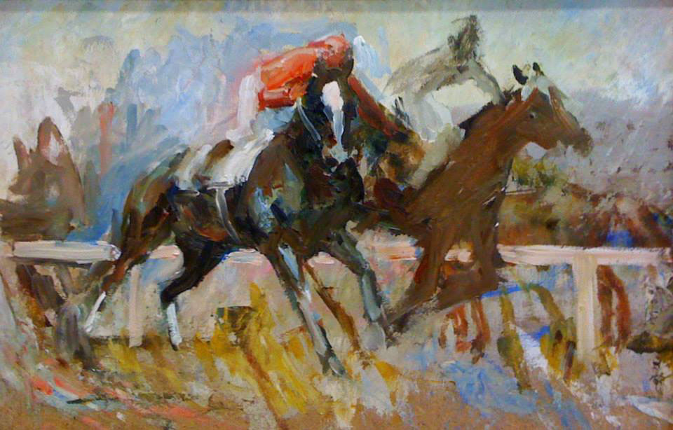 The fight at the finish. Sketch, Sergey Postnikov- painting sketch, jockey, horse racing, rivals