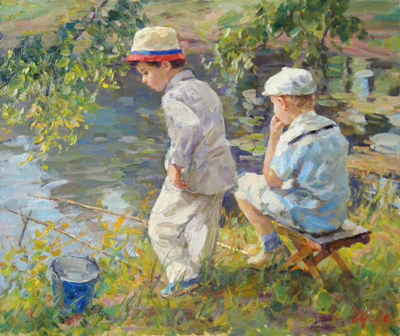Young Fishermen, Vladimir Gusev- genre painting, summer, river, boys, fish