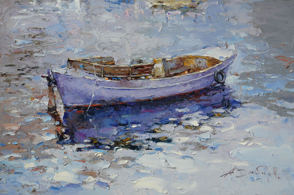 The same boat, Alexi Zaitsev- seascape with boat, painting, impressionism