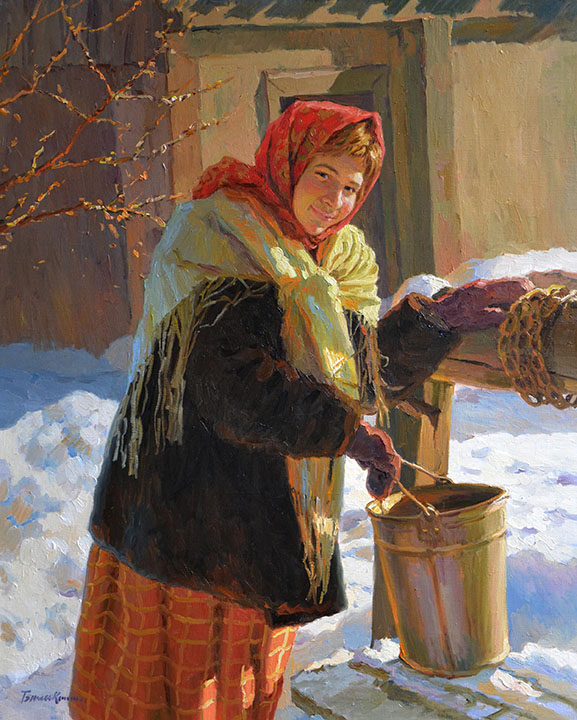 At the well, Evgeny Balakshin- winter, snow, Russian girl in scarf, bucket, painting