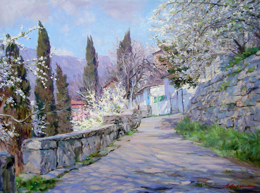 Time to flowering, Alexandr Averin- painting, Crimea, mountain peaks , cypresses , descent