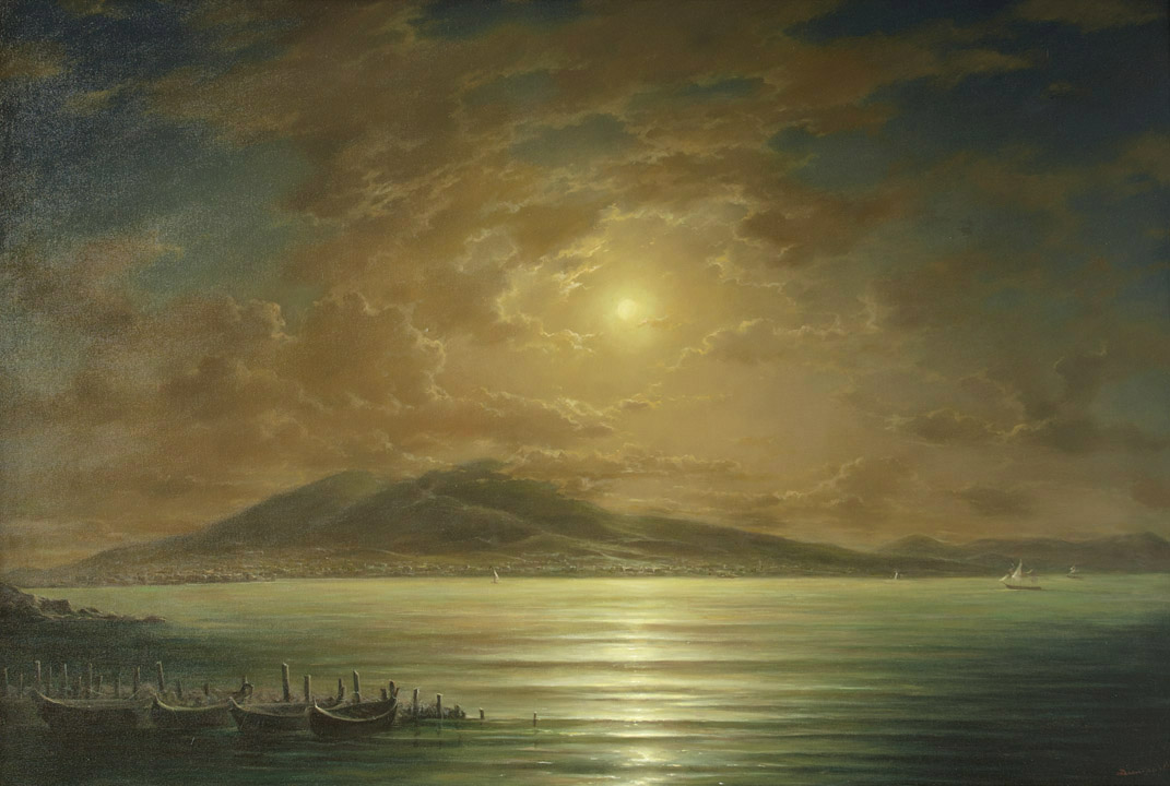 Gulf of Naples moonlit night, George Dmitriev- seascape painting, realism, Italy, Volcano, boats