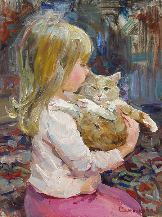 With the cat, Elena Salnikova