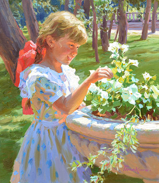Summer noon, Evgeny Balakshin- girl sunlit, painting, impressionism, park